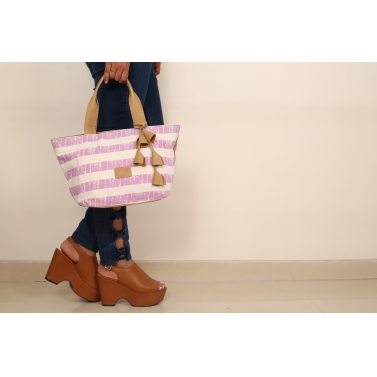 Stripe Shoulder Bag - Lavender