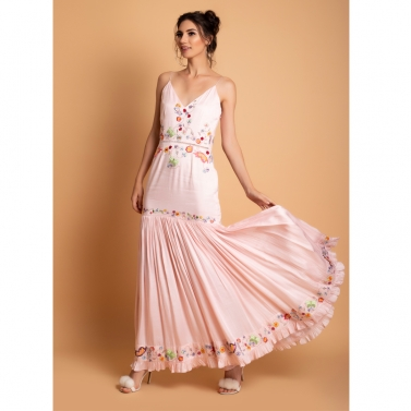 Blush Satin Embroidered Long dress