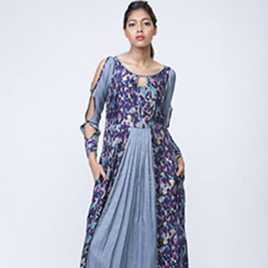 Cotton Digital Printed Pleated Maxi Dress, Cut Out Sleeves Full