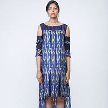 Cotton Digital Printed Dress, Cut Out Sleeves, Cold Shoulders