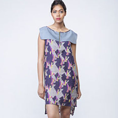 Cotton Didital Printed Shift Dress, Sleeveless