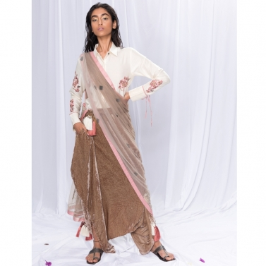 Shirt And Dhoti, Dupatta Set