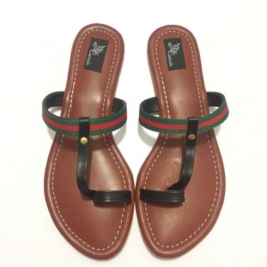 Tan color Sandals With Blacks Straps